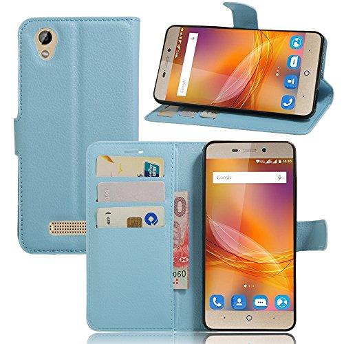 Ycloud Tasche für ZTE Blade A452 Hülle, PU Ledertasche Flip Cover Wallet Case Handyhülle mit Stand Function Credit Card Slots Bookstyle Purse Design blau