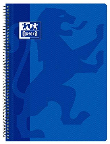 Oxford Classic - Cuaderno espiral, tapa plástico, cuadrícula 4x4, color azul marino