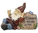 Dehner Dekofigur Gartenzwerg 'Willkommen in meinem Garten', ca. 30 x 13 x 22 cm, Polyresin