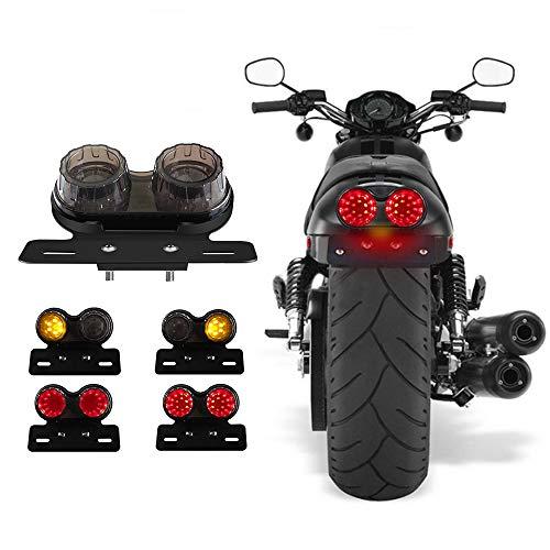 Fanale posteriore per moto 40W 40-LED Doppia luce di stop integrata Indicatore di direzione&guida supporto targa per Harley Impermeabile (nero)