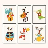 アニマルバンドディアパンダフォックスクロコダイルウォールアートキャンバス絵画北欧のポスターとプリント壁の写真ベビーキッズルームの装飾-20x30cm6個フレームなし