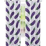 YUAZHOQI - Cortina de ventana de berenjenas deliciosas y divertidas para niños, diseño de comidas nutritivas, veganas, naturales, 132 x 160 cm, elegante para sala de estar, color blanco violeta