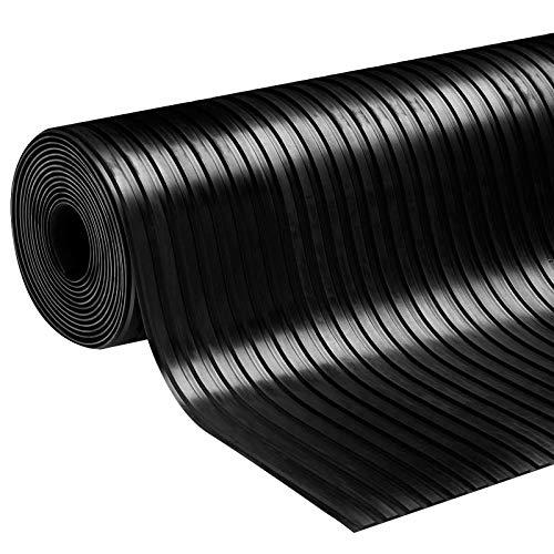 Gummiläufer Bodenmatte Gummimatte Breitriefen in 2 Größen Stärke: 3 mm Antirutsch Matte (100 x 400 cm)