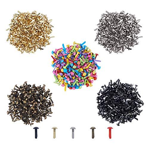 PandaHall Elite 1000pcs Runde Papier Fasteners Mini Metall Brads für Handwerk, DIY, Mischfarben