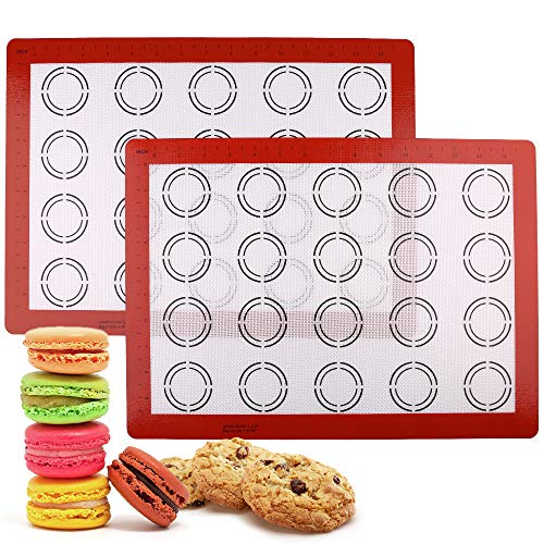 LotFancy Macaron Silicone Baking Mat - Set of 2 Half Sheet (11 5/8' x 16 1/2') Macaron Mat - Non Stick Baking Liner Sheet for Cookie Bun Pastry Bread Making, BPA Free