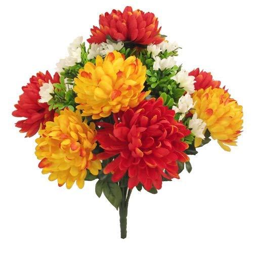 Stachelige Chrysanthemenstrauch aus Kunstseide, 43 cm, Orange und Gelb mit 12 großen Blütenköpfen