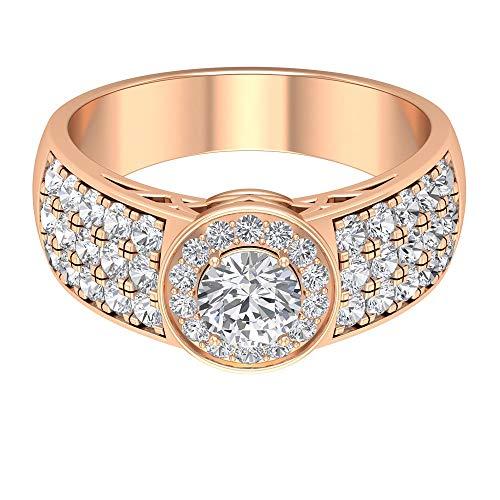 Anello di fidanzamento con diamante solitario da 1,58 ct, anello di fidanzamento largo, anello in oro 18 carati con diamante incastonato, anello vintage per cocktail e feste e Oro rosa, 65 (20.7), colore: Rosa, cod. RCRI062016811-18