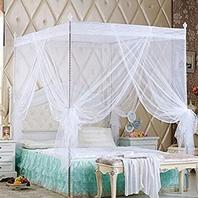 Bluelans 4 Corner Post Bed Canopy Mosquito Net Twin Full Queen King Size Netting Bedding White