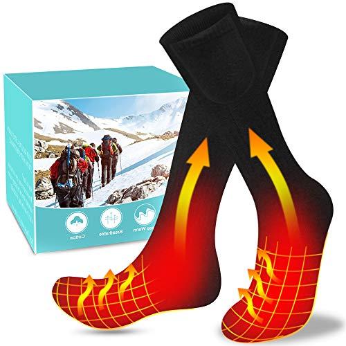 Calcetines Calefactables Recargables, Calcetines Térmicos Eléctricos 3.7V 4800mAh Doble Cara Calentado Calentador de Pies Hombre y Mujer Ideal para Esquí Motocicleta Pesca Caza