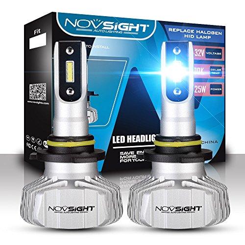 Phare De Voiture De LED Kit De Conversion, CSP Chips Super Lumineux 10000LM 50W Phare Extérieur 6500 Cool White,9005