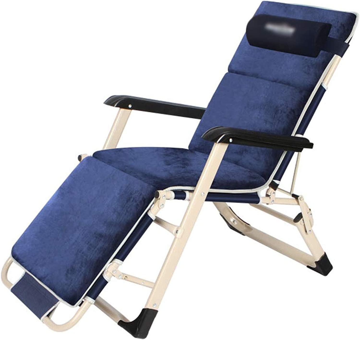 Folding Chair Folding Bed Lunch Break Chair Home Portable Recliner Single Camping Bed Ultra Light Nap Outdoor Bed  178x52x30cm  Twocolor Optional, Adjustable  Disassemble Headrest