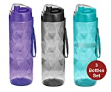 Sports Water Bottle 3 Pack -35 oz Large Water Bottle for Adults-Leakproof BPA-Free Wide-Mouth w/Strap Carry Handles for Men & Women Cycling Camping Gym Hiking Yoga Fitness