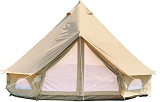 DANCHEL OUTDOOR 4-Season Cotton Canvas Yurt Tents for Family Camping, Luxury Waterproof Glamping Bell Tent, 4M=13ft