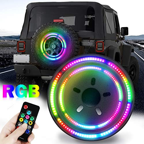 Double Ring RGB Third Brake Light, RGB Spare Tire Lights with RF Wireless Remote Controller Compatible with Jeep Wrangler JK JKU 2007-2018, YJ TJ LJ 1987-2018 and JL 2018-2021
