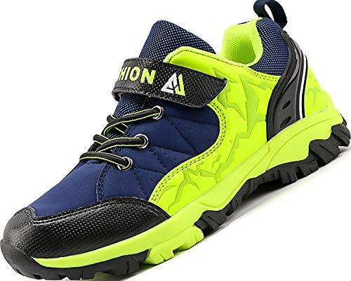 Lvptsh Baskets Enfant Chaussures de Sport Garçon Chaussures Montagne de Randonnée Running Chaussures de Plein Fille Antidérapant - 36 EU - Bleu Vert