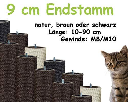 Kratzbaumland 9 cm Endstamm mit Stehbolzen, Ersatzstamm für Kratzbaum: Länge: 10 cm/Gewinde: 10 mm (M10), Farbe des Sisalseils - braun