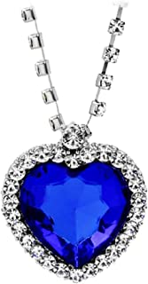 MERSDW Classic Luxury Jewelry Titanic Sea Star Love Necklace Women Heart Crystal Rhinestone Silver Chain Pendant Fashion Wild Diamond Pendant Necklace Jewelry Gift (Blue)