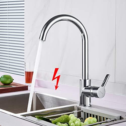 WOOHSE Niederdruck Wasserhahn Küche 360° Drehbar Einhandmischer Mischbatterie für Spüle Küche, Niederdruckarmatur für Druckloser Warmwasserspeicher oder Untertischgeräte eingesetzt