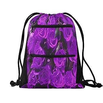 Drawstring Backpack Bag Romantic Purple Flowers Gym Bag Draw String Bags Cinch Sack