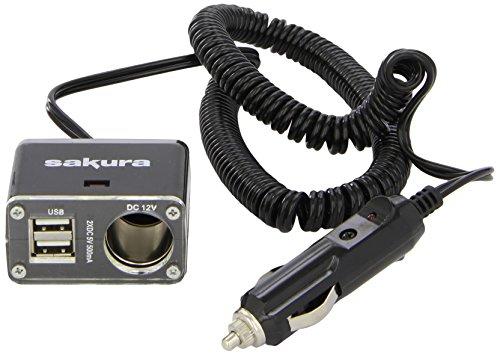 Sakura SS5103 Alargador para mechero de coche, 12V, 1 Enchufe de Mechero y 2 Puertos USB