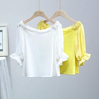 VM 2018夏季新款韩版纯色休闲一字领灯笼袖针织拼接T恤上衣女
