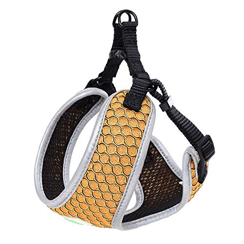 Mile High Life | Breathable Hive Mesh Vest Dog Harness | No Pull Dog Harness with Adjustable Straps | Step in Dog Harness with Reflective Bound Hem | Small Medium Dogs | Yellow | XS