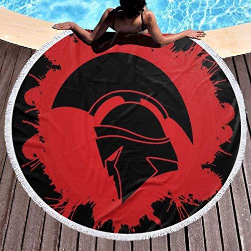 AEMAPE Casco de Guerrero Espartano Toalla de Playa Redonda Borla Circular Manta de Picnic Manta de Playa