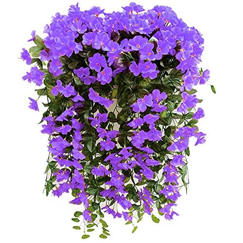 Hanging Flowers Violet Flower Basket, Artificial Wall Wisteria Vine Flowers Garland Fake Silk Orchid Simulation Plant Vine Wedding Home Wall Traling Garden Floral Decoration (Purple)