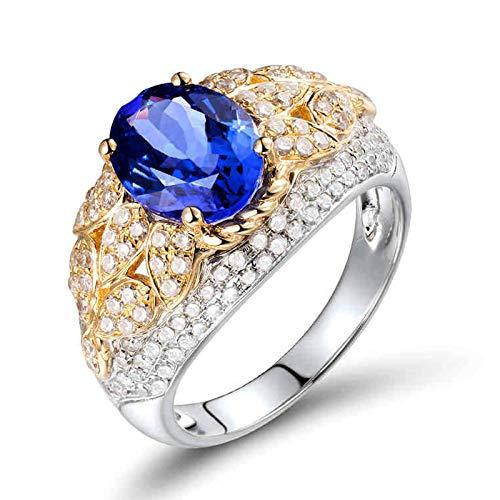 Beydodo Anillos Mujer de Boda,Anillo 18K Oro Blanco Mujer Plata Oro Azul Flor con Oval Tanzanita Azul 2.38ct Diamante 0.81ct Talla 9,5(Circuferencia 49MM)