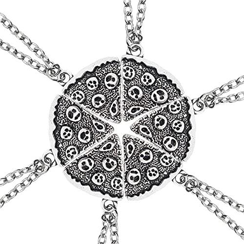 Establecer buenos amigos última serie 6 piezas mosaico oro pizza colgante collar amistad colgante joyería regalo de vacaciones s-Set