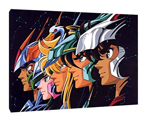 caballeros del Zodiaco - Cuadro moderno impresión sobre lienzo 40 x 30 cm - Dibujos Animados - Anime - Manga - Decoración interior salón - Idea regalo
