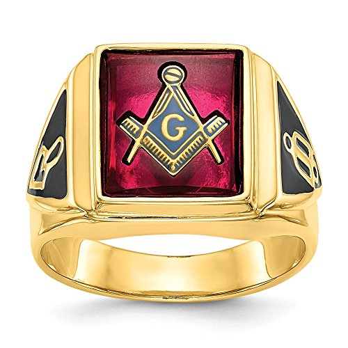 Solid 14k Yellow Gold Men's Synthetic Ruby Masonic Ring Band Size 12