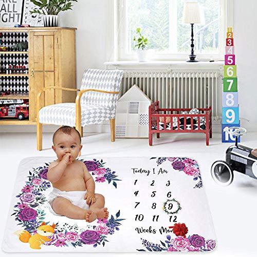 Couverture Baby Milestone, Couverture De Réception en Molleton De Première Qualité pour Bébé, Accessoire De Photographie, Garçon, Couverture De Douche De Bébé, Housse De Poussette pour Tout-Petit