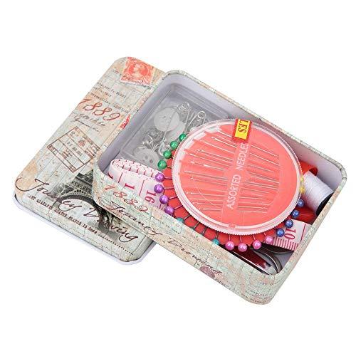 Junlucki Caja de Hilos de Aguja, con Tijeras, Aguja de Bordado de Hilo portátil, Herramienta de Costura, Herramienta Artesanal para el diseño de Bricolaje, Costura casera