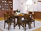 7 Pc set Kenley with a Leaf and 6Padded Leather Kitchen Chairs in Espresso .