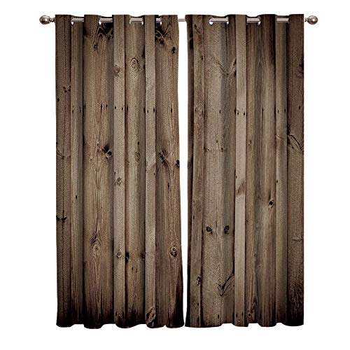 JNBGYAPS Blackout Curtains 3D Gray wood grain decoration printing Thermal Insulated Curtains Eyelet Super Soft Window Treatment for Bedroom Window Decoration parlor bathroom 2 x 29.5 x 65.3 Inch
