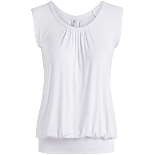 3ae31b7fd3f Short Sleeve Top Loose Fit Top for Women Scoop Neck Gathered Banded Shirt -  USA
