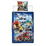 Character World Lego - Juego de cama infantil con diseño de coche de policía y fuego, funda de almohada de 80 x 80 cm y funda nórdica de 135 x 200 cm, 100% algodón