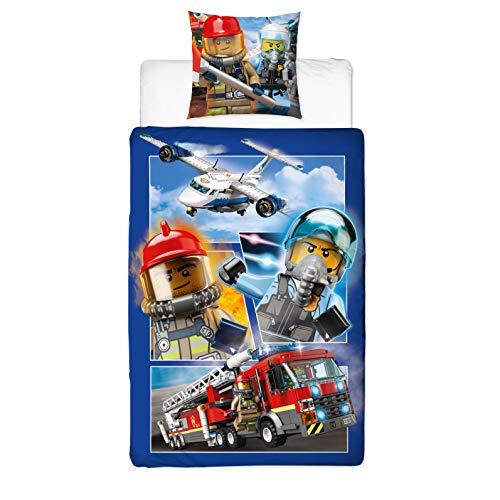 Character World Lego Bettwäsche Polizei & Feuewehr Auto Kinder-Bettwäsche Lego City - Kissenbezug 80x80 + Bettbezug 135x200 cm - 100% Baumwolle
