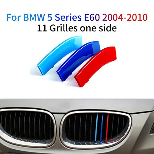 for BMW 5 Series E60 525i 528i 530i 535i 545i 550i 2004-2010 M Color Front Grille Grill Cover Insert Trim Clips 3Pcs (11 Grilles)