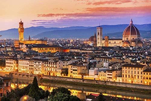 Aixmuy Jigsaw Puzzle Puzzle in Legno 1000 Pezzi Jigsaw Giocattoli Intellettuali Vista Notturna della Città di Firenze Puzzle Casuali