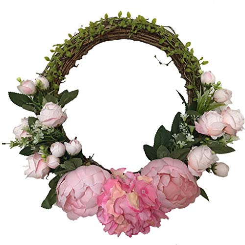 Wreaths LIU- Artificial Pink Hydrangea Peony Silk Flower Floral Arrangement for Front Door Home Hotel Wedding Decoration or Photography Props