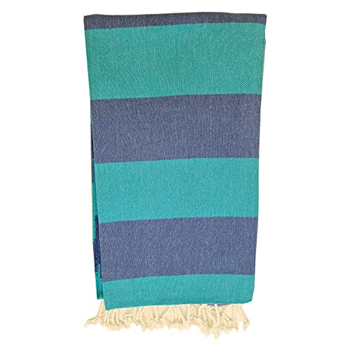 Toalla de baño turco de Pestemal, tamaño XXL, para sauna, baño, playa, fitness, yoga, spa, 100 % algodón, tamaño grande, 100 x 180 cm, color turquesa y azul