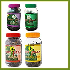 Dry Paan Combo Pack B (Contains 4 Items) Dry Paan - Meetha 100g (1 No) Dry Paan -Gulkand 100g (1 No) Dry Paan - Calcutta 80g (1 No) Dry Paan - Calcutta Gold 80g (1 No)