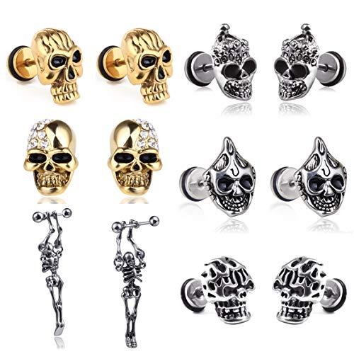 6 pares de pendientes de acero inoxidable con diseño de calavera gótica, estilo punk rock