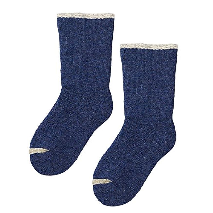 果てしないハチ回転する砂山靴下 Carelance(ケアランス) お風呂上りの靴下 二重編み 8590CA-70 ブルー