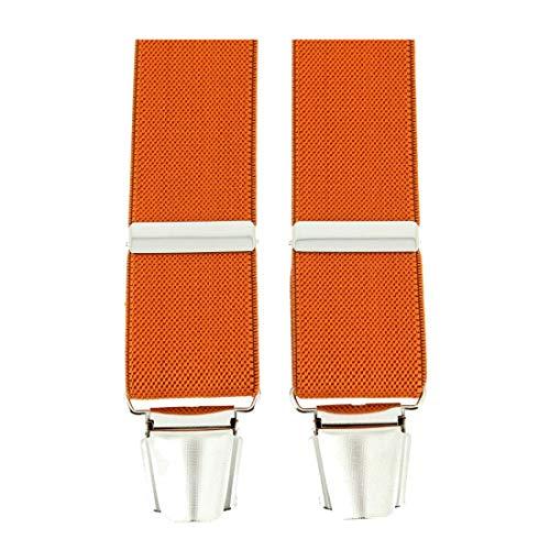 Tony & Paul. Bretelle. 4 clips, Viscose. Orange, Uni. Fabriqué en Italie.