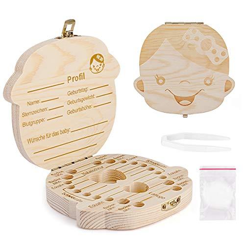 Aitsite Zahnbox Holz Milchzähne Box [Deutsch Version] Zahndose Milchzahndose Zahndöschen für Kinder