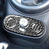 Para BMW Mini Cooper Hatch One R50 R53 2002-2004 pegatinas de fibra de carbono de cambio de consola de interruptor marco interior caja de cambios cubierta de botón trasero (negro)