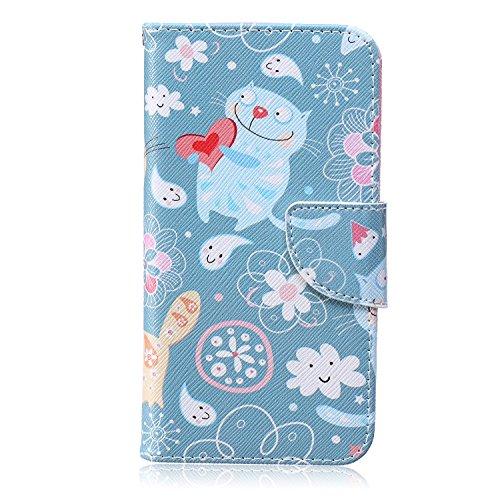 LG G4 Custodia, ISAKEN Creative Disegno stampa stile del libro Portafoglio Cover Case in PU Cuoio, LG G4 protettivo Wallet Caso con funzione di supporto e morbido TPU cassa interna - gatto blu fiori bianco amore rossa